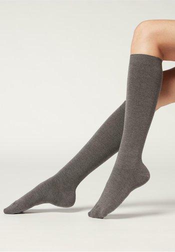 LANGE MIT  - Knee high socks - grigio medio melange