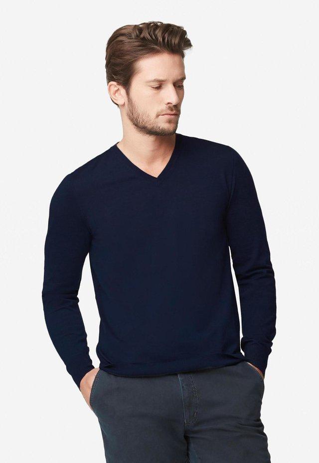 V-AUSSCHNITT-PULLOVER AUS CASHMERE ULTRALIGHT - Sweatshirt - dark blu mel.