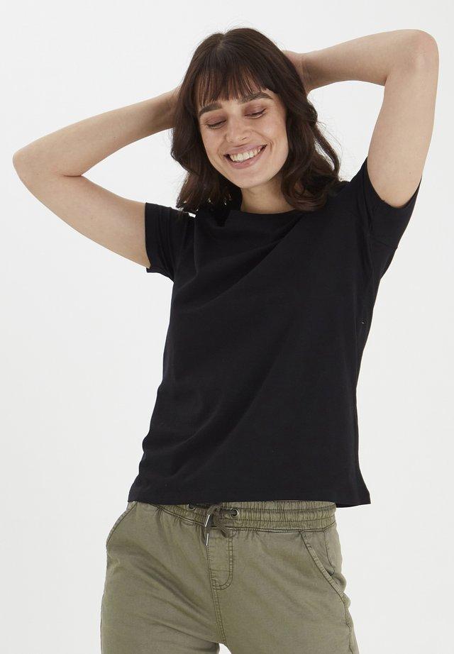 FRANSA - Basic T-shirt - black