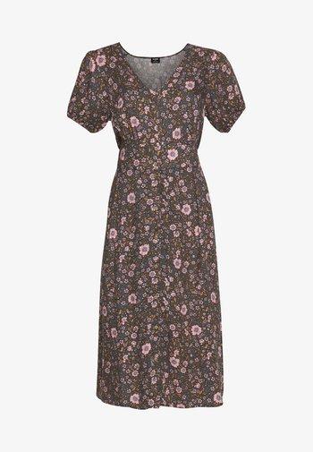 WOVEN PUFF SLEEVE MIDI DRESS - Sukienka letnia - black