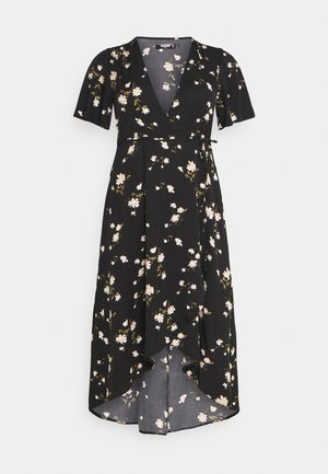 FLORAL WRAP MIDI DRESS - Vestido informal - black