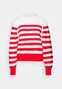 LOOSE FITTED PULLOVER IN SPECIAL BRETON - Maglione - off white/red