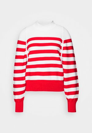 LOOSE FITTED PULLOVER IN SPECIAL BRETON - Svetr - off white/red