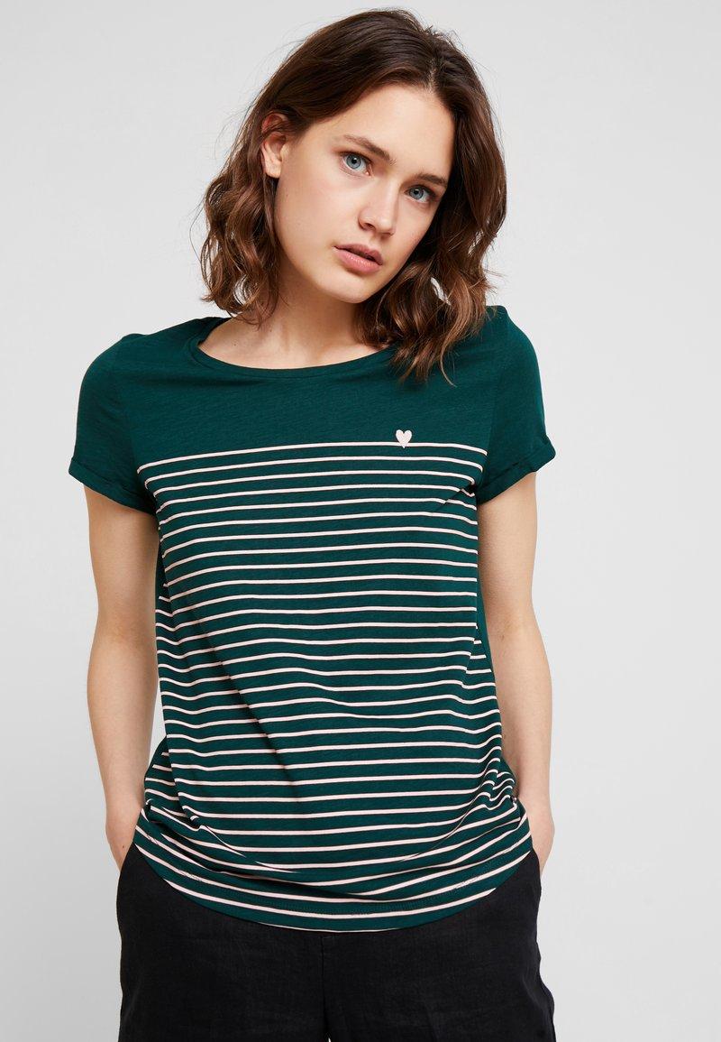 TOM TAILOR DENIM - PRINTED STRIPE TEE - T-shirt med print - green/rose