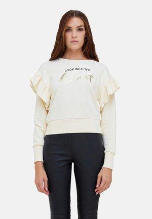 CON MAXI ROUCHES E SCRITTA - Sweatshirt - beige