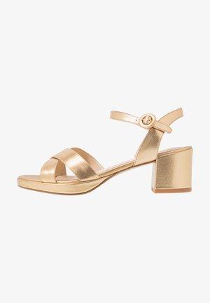 LEATHER - Platform sandals - gold
