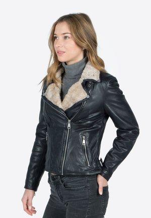 WINTER BIKER PRINCESS - Leather jacket - black blue/beige