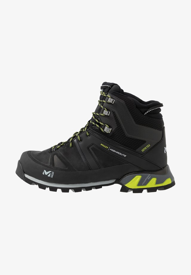HIGHROUTE GTX - Walking boots - black/acid green