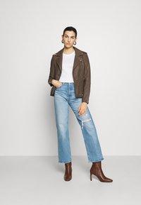 DEPECHE - JACKET - Leather jacket - dusty taupe - 1