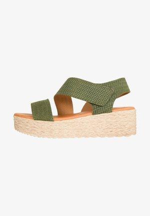 Sandalen met sleehak - kaki