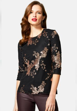 SEQUIN PARTY TOP - Top - gold flowers