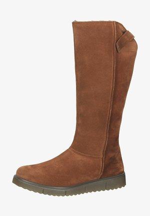 Platform boots - dark cognac