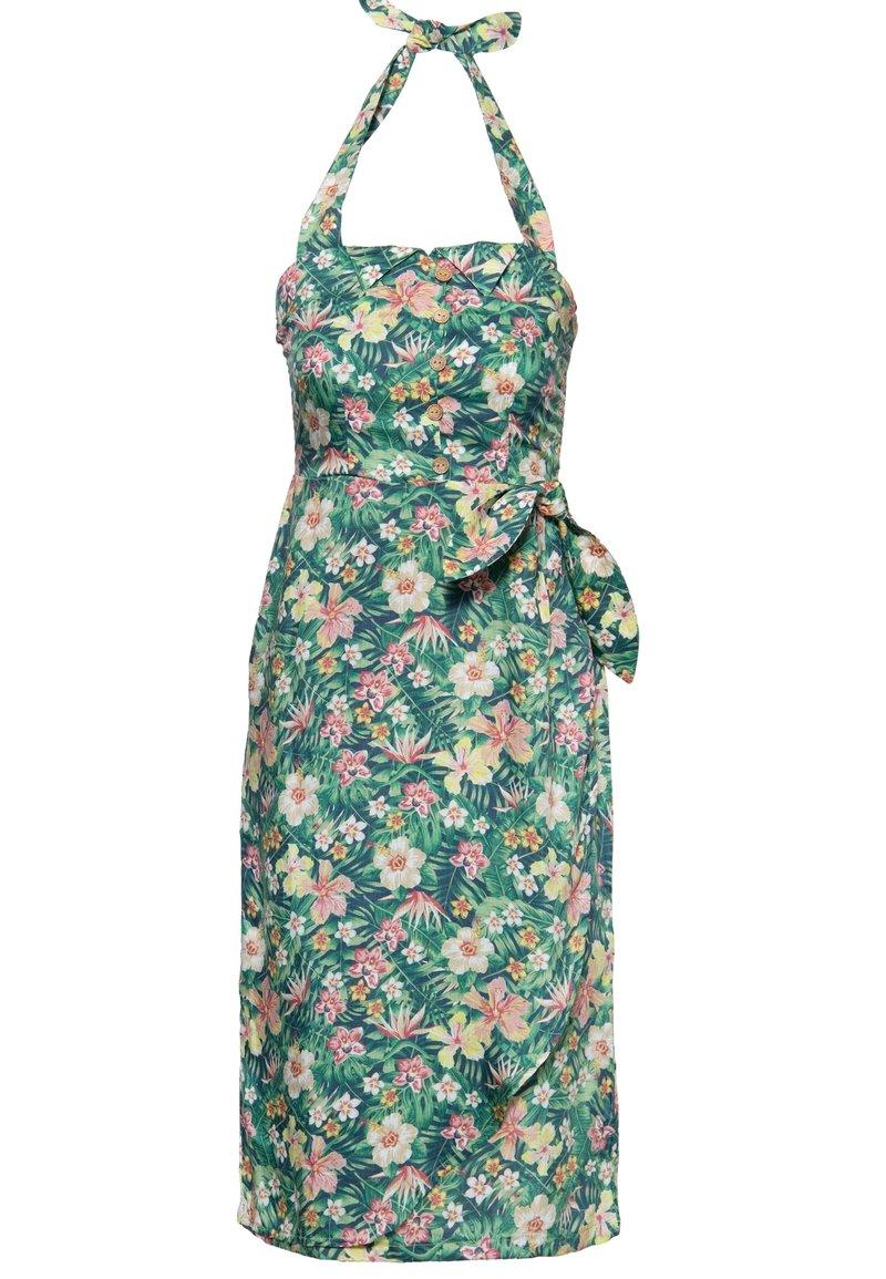 Queen Kerosin - MIT TROPISCHEM MUSTER - Day dress - grün