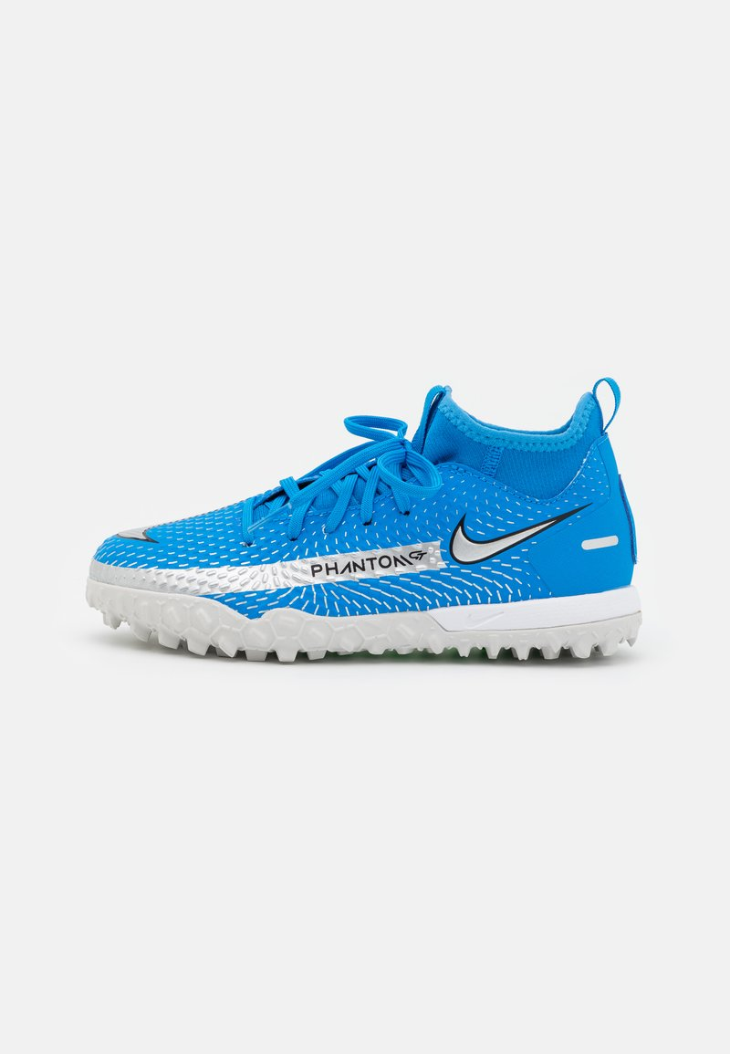 Nike Performance - JR PHANTOM GT ACADEMY DF TF UNISEX - Fodboldstøvler m/ multi knobber - photo blue/metallic silver/rage green