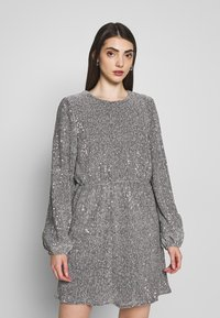 Nly by Nelly - BALLOON SLEEVE DRESS - Sukienka koktajlowa - silver - 0