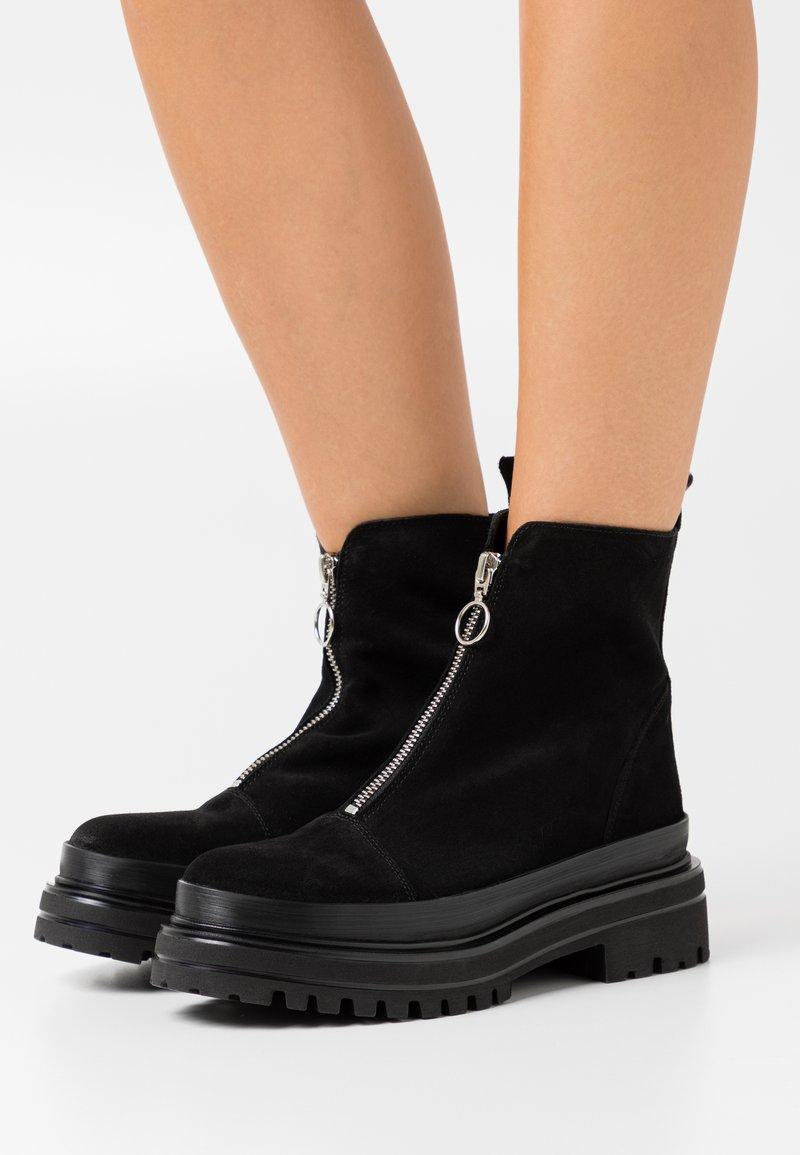 Bianco - BIADICY ZIPPER BOOT - Platåstøvletter - black