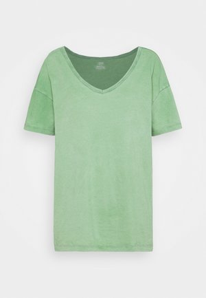 WEB ONLY  V NECK TEE - T-shirts basic - green mission