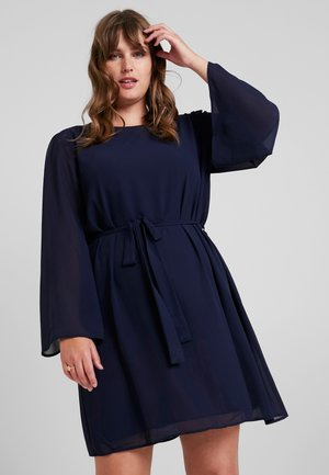 SLEEVE BELTED MINI DRESS - Day dress - navy