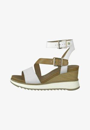 Sandalen met sleehak - white lt gold