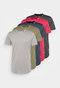 Jack & Jones - ENOA TEE CREW NECK MELANGE 5 PACK - T-shirt basic - olive night/olive/navy/rio - 7