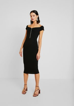 BARDOT EXPOSED ZIP MIDI DRESS - Etui-jurk - black