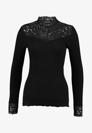 SILK-MIX T-SHIRT WITH LACE - Top s dlouhým rukávem - black