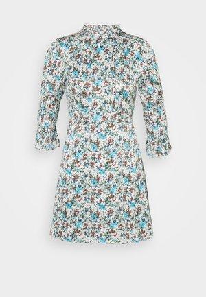 HIGH NECK SHIRRED LONG SLEEVE MINI DRESS - Day dress - confetti floral