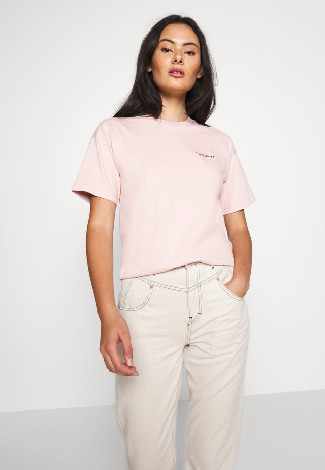 SCRIPT EMBROIDERY - Basic T-shirt - frosted pink/black