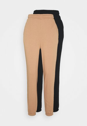 2 PACK - Loose fit Joggers - Tracksuit bottoms - camel/black