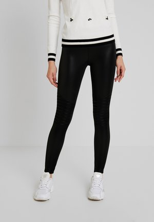 LADIES FAUX BIKER LEGGINGS - Leggings - Trousers - black