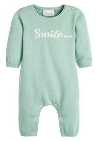 Next - MINT GOTS ORGANIC SMILE SLOGAN KNITTED ROMPER (0-12MTHS) - Jumpsuit - green - 0