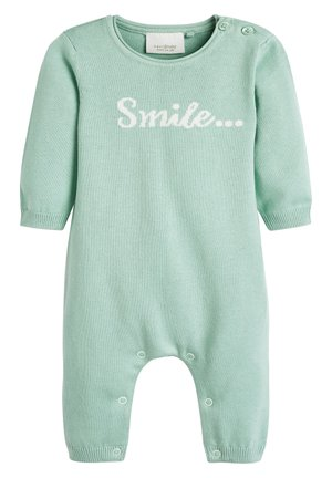 MINT GOTS ORGANIC SMILE SLOGAN KNITTED ROMPER (0-12MTHS) - Jumpsuit - green