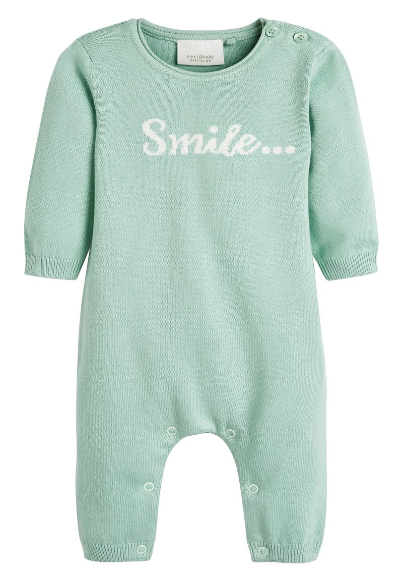Next - MINT GOTS ORGANIC SMILE SLOGAN KNITTED ROMPER (0-12MTHS) - Jumpsuit - green