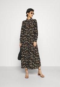 Object Tall - OBJLORENA LONG DRESS - Maxi dress - black/sepia/sandshell - 1