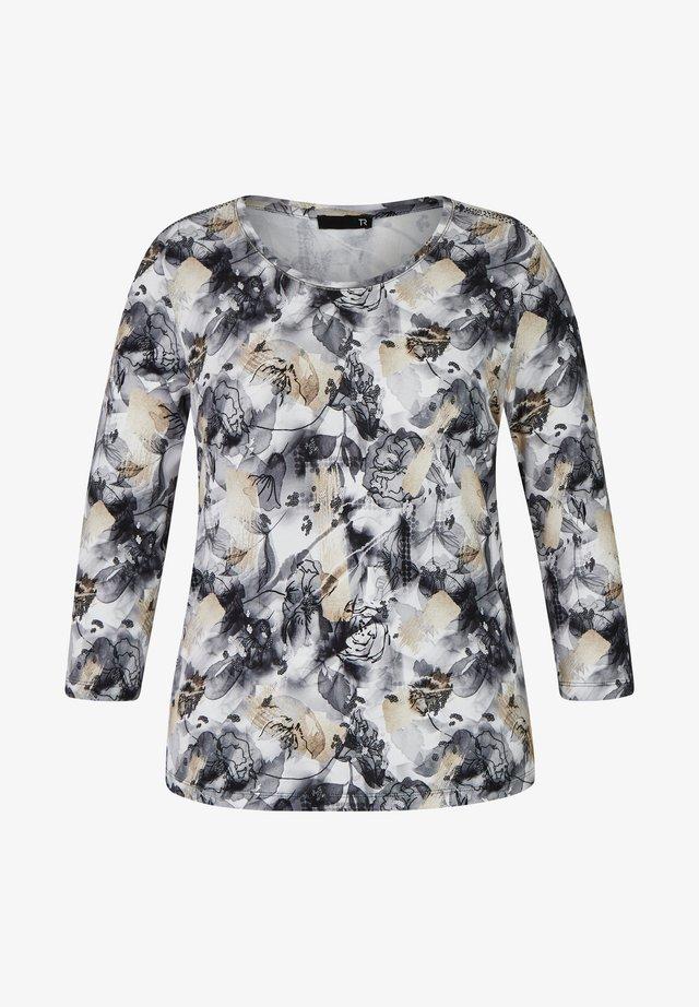 FLORALEM MUSTER UND GLITZERSTEINEN - Button-down blouse - grey