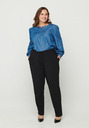 WITH TIE CORD - Pantaloni - black