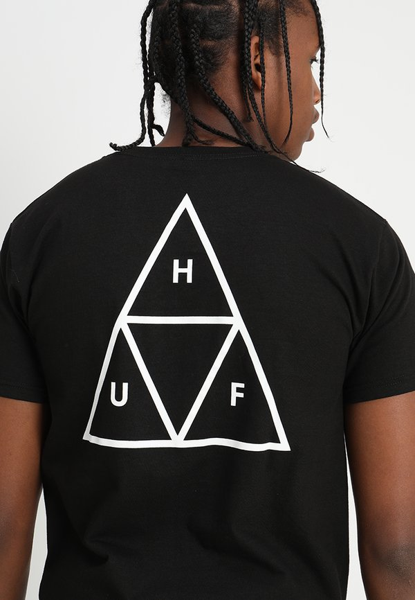 HUF ESSENTIALS TEE - T-shirt z nadrukiem - black/czarny Odzież Męska SLDS