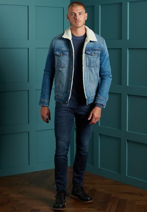 TEXTURED CREW  - Pullover - washed rich navy