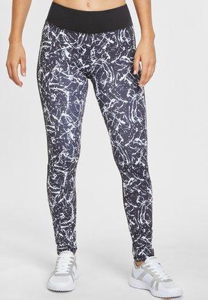 Leggings - Trousers - schwarz-marmoriert-weiß