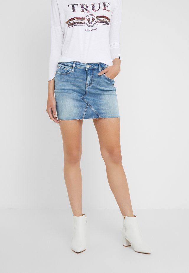 CUT OFF MINI SKIRT - Minifalda - blue