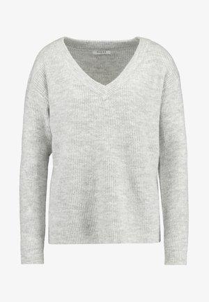 PCELLA V NECK - Strickpullover - light grey melange