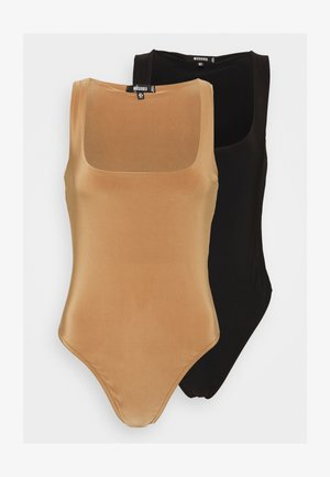 2 PACK SCULPTED SEAM FREE SCOOP NECK BODYSUIT - Top - black/camel