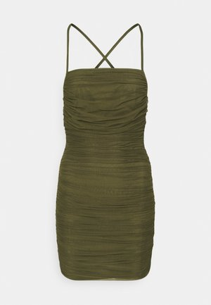 RUCHED OPEN BACK DRESS - Etui-jurk - khaki