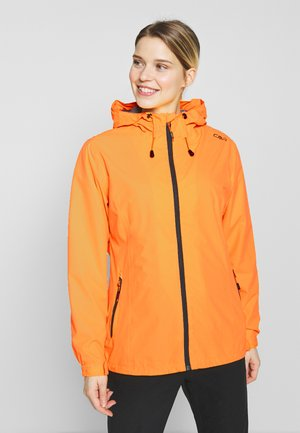 WOMAN RAIN JACKET FIX HOOD - Hardshell jacket - solarium