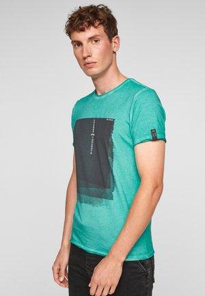 MET USED LOOK - Print T-shirt - turquoise