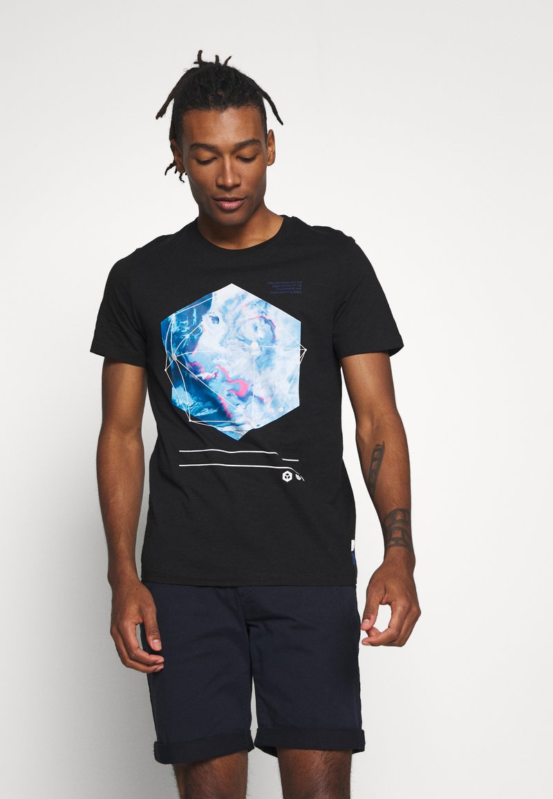 Jack & Jones - JCOPAX TEE CREW NECK SLIM FIT - Print T-shirt - black