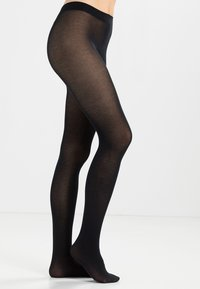 FALKE - FALKE COTTON TOUCH STRUMPFHOSE BLICKDICHT GLATT SCHWARZ - Tights - black - 1