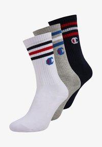 Champion - TRIPLE CREW SOCKS 3 PACK - Sportovní ponožky - navy/white/grey - 0