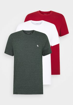 HOLIDAY CREW 3 PACK  - T-shirts med print - red/green stripe/white