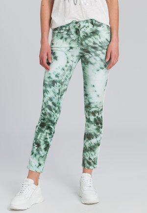 Trousers - dark jade varied